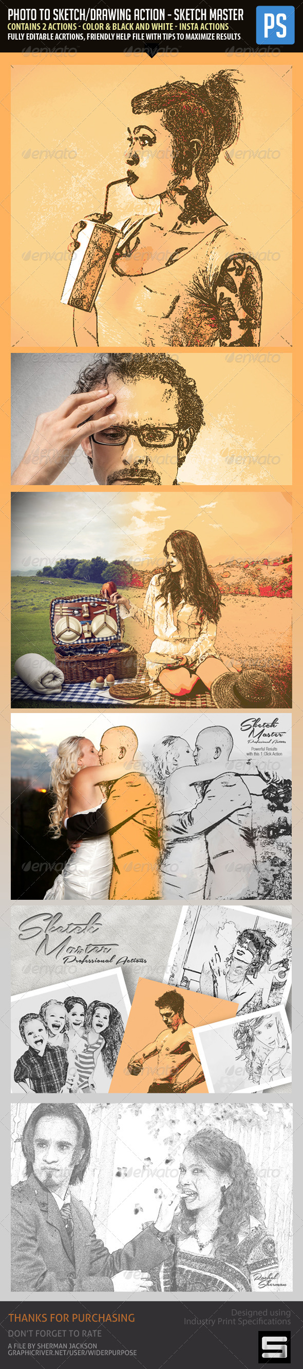 GraphicRiver Photo to Sketch Drawing Action SketchMaster 7374601