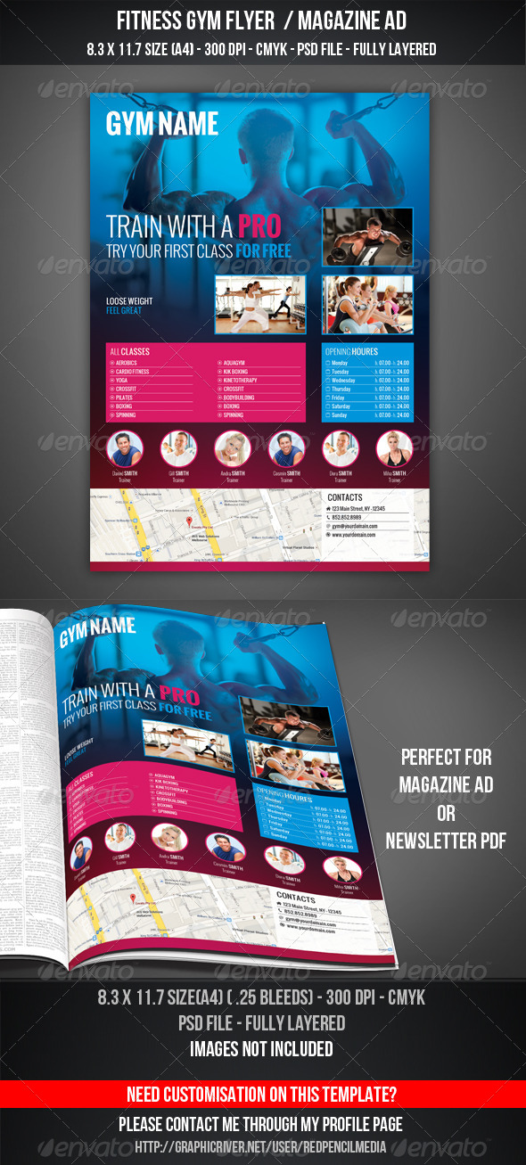 GraphicRiver Fitness Gym Flyer Magazine AD 7384650