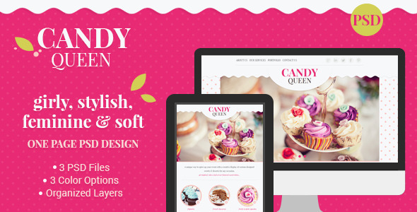 ThemeForest Candy Queen Beautiful Clean One Page Portfolio 7289207