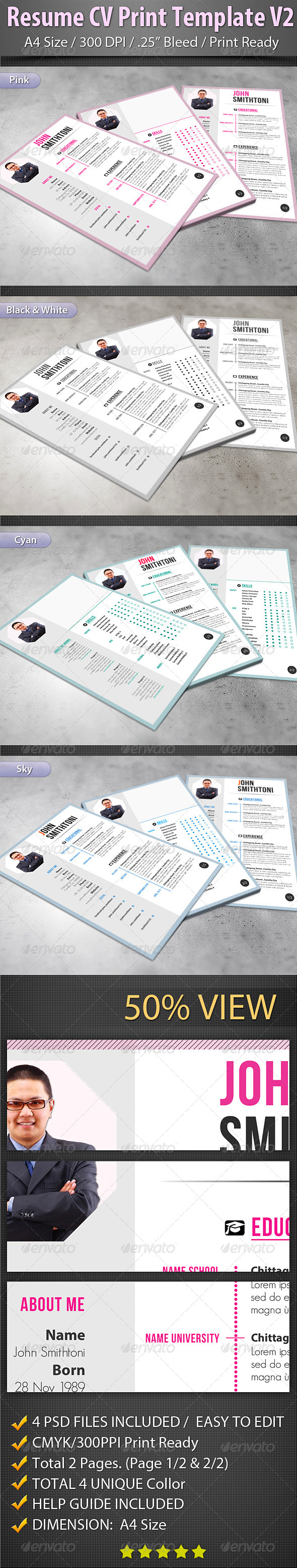 GraphicRiver Resume CV Print Template V2 7376546