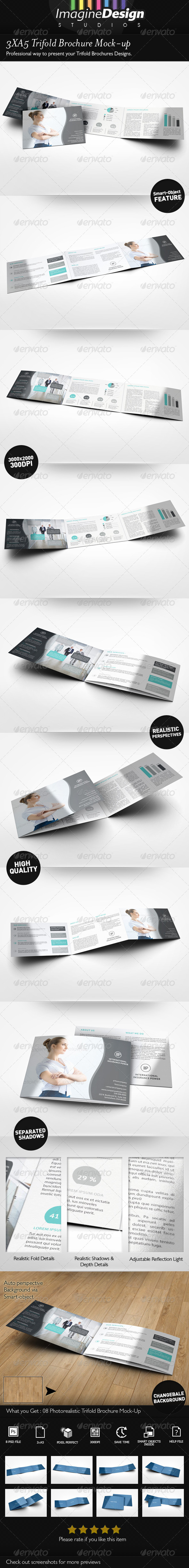 GraphicRiver 3xA5 Trifold Brochure Mock-up Landscape 7385519