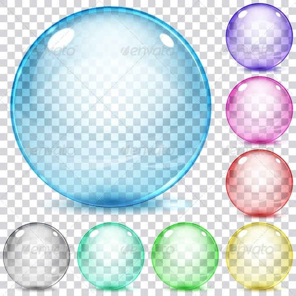 GraphicRiver Set of Multicolored Transparent Glass Spheres 7385880