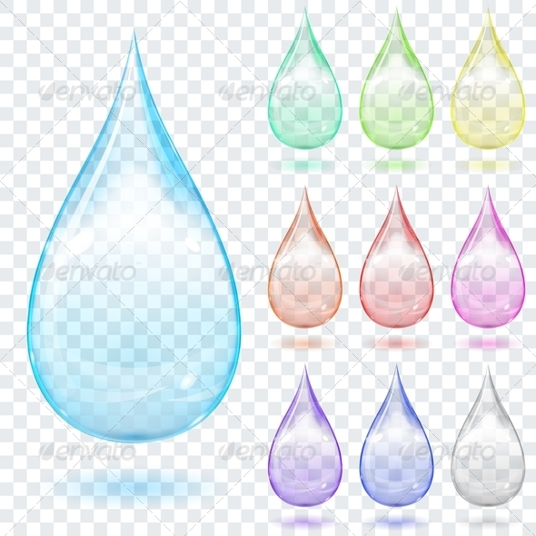 GraphicRiver Set of Multicolored Transparent Drops 7386156