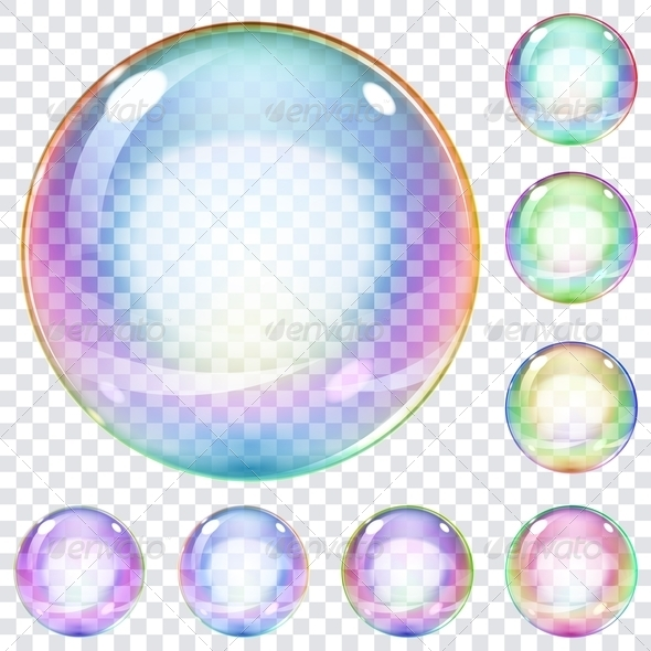 GraphicRiver Set of Multicolored Soap Bubbles 7386310