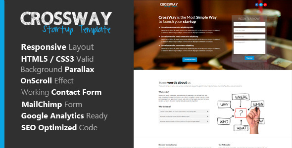 ThemeForest Crossway Startup Landing Page Template 7342227