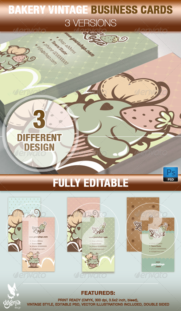 GraphicRiver Cupcake and Cake Design Business Card Templates 7377357