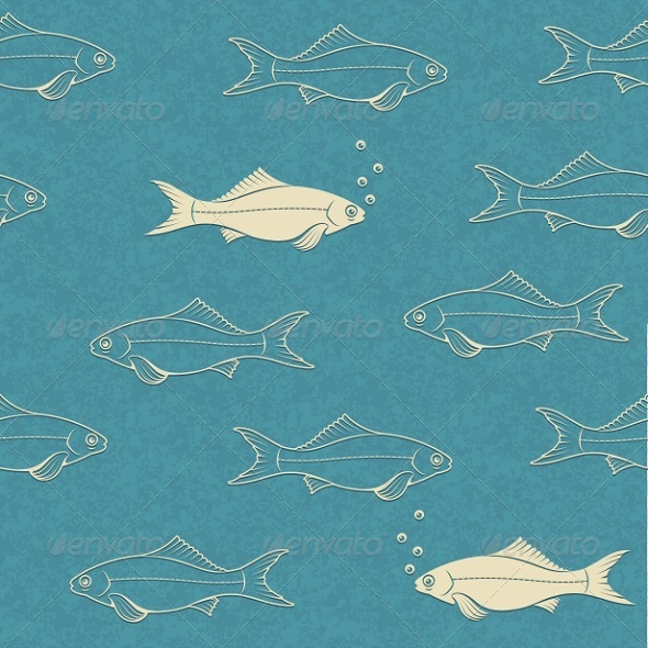 GraphicRiver Seamless Pattern of Swimming Fish with Bubbles 7386820