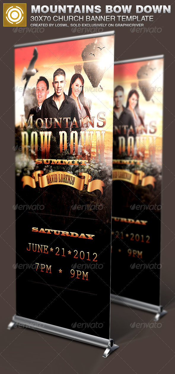 GraphicRiver Mountains-Bow-Down Church Banner Signage Template 7386948