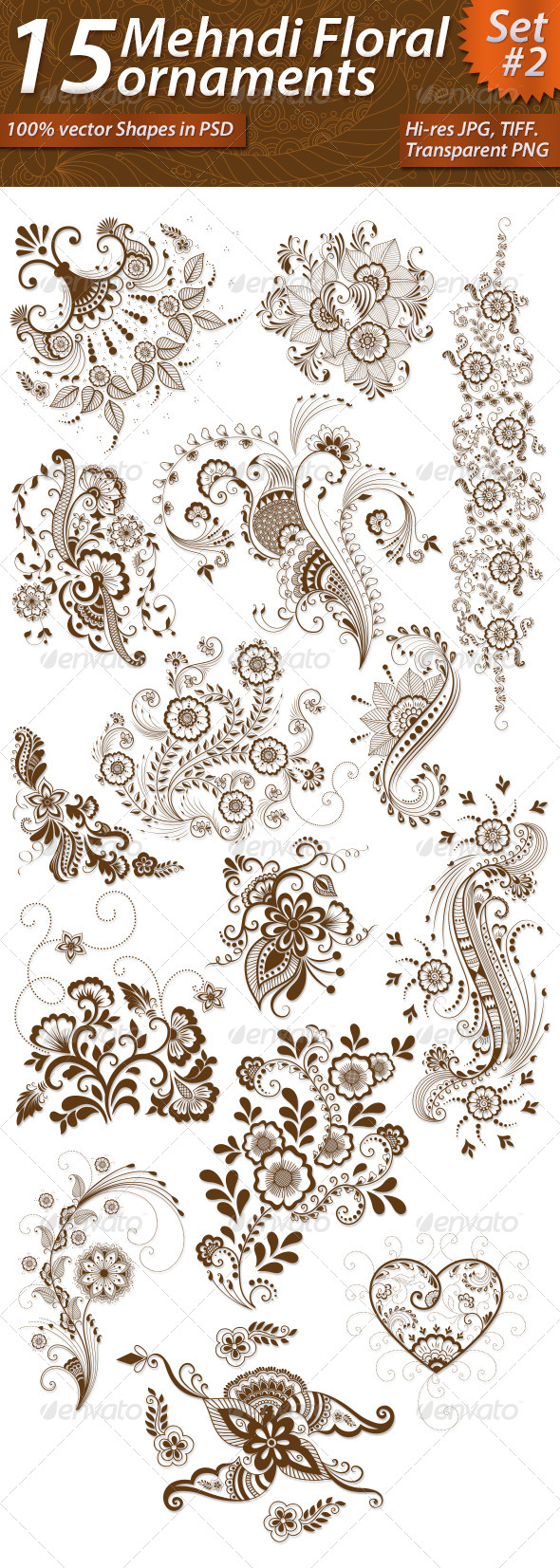GraphicRiver 15 Mehndi Floral Ornaments Set#2 7387176