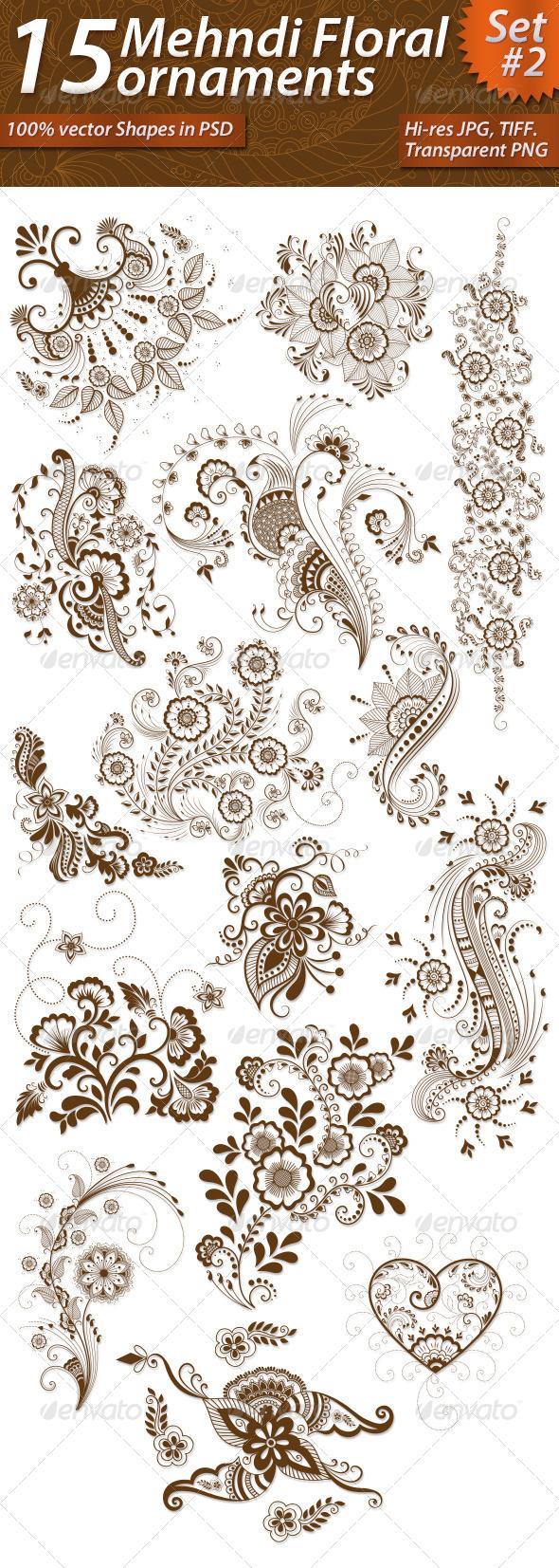GraphicRiver 15 Mehndi Floral Ornaments Set#2 7387176