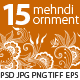 15 Mehndi Floral Ornaments Set#2 - GraphicRiver Item for Sale