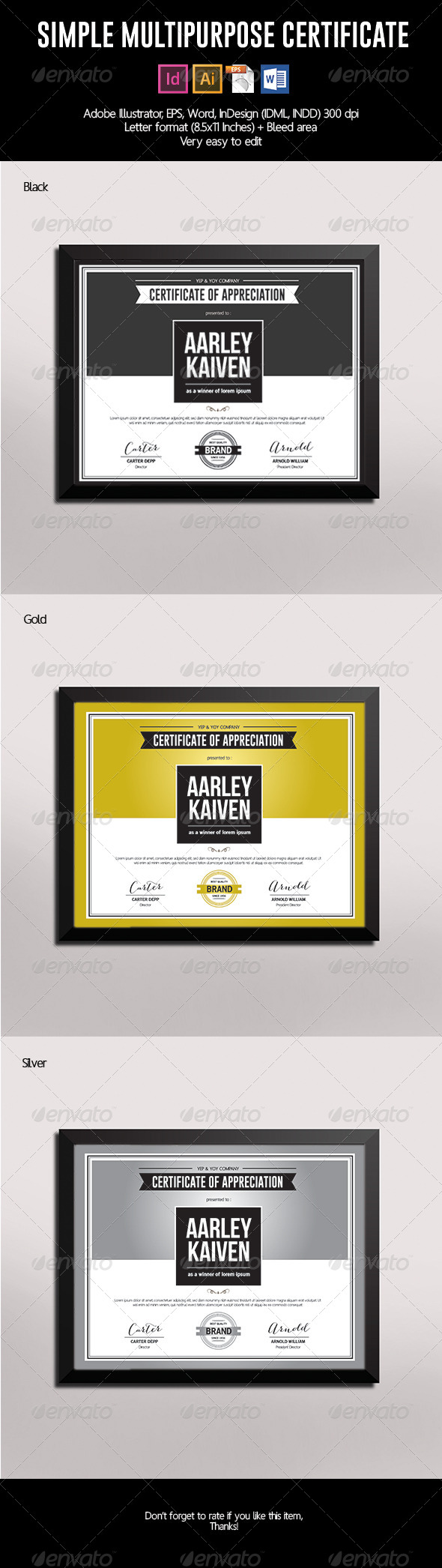 GraphicRiver Simple Multipurpose Certificate 7387689
