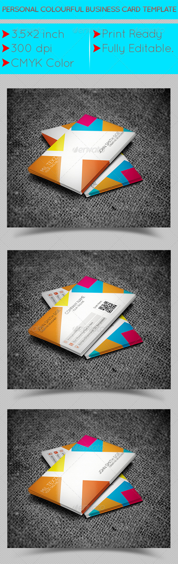 GraphicRiver Personal Colourful Business Card Template 7389200