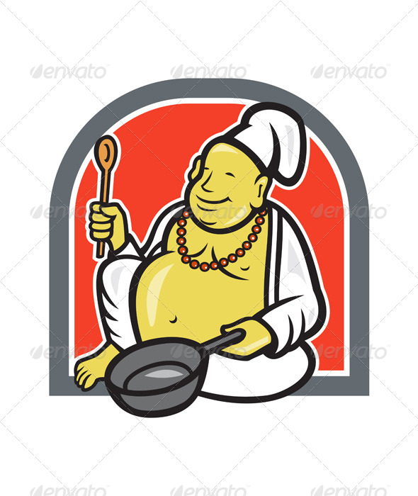 GraphicRiver Fat Happy Buddha Chef Cook Cartoon 7389355