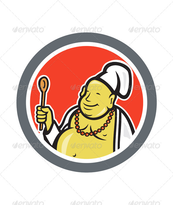 GraphicRiver Fat Buddha Chef Cook Cartoon 7389357