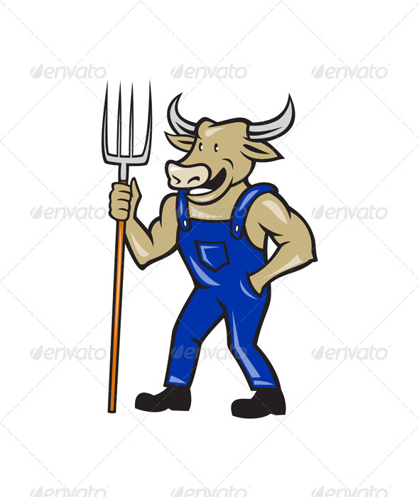 GraphicRiver Farmer Cow Holding Pitchfork Cartoon 7389440