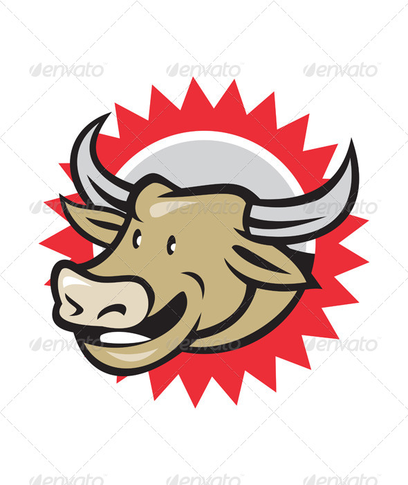 GraphicRiver Laughing Cow Head Cartoon 7389548