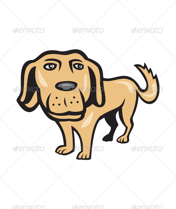 GraphicRiver Retriever Dog Big Head Isolated Cartoon 7389554