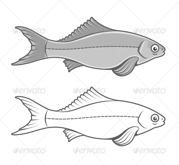 GraphicRiver Silhouette of Fish Contour Drawing 7389555