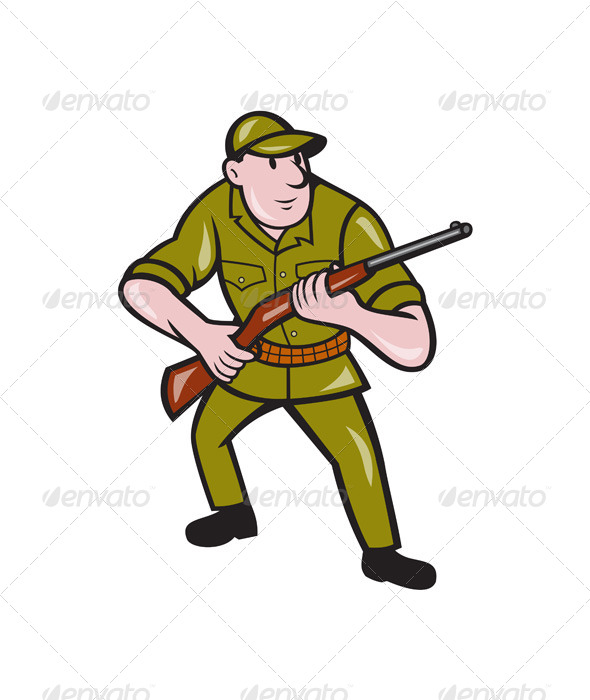GraphicRiver Hunter Carrying Rifle Cartoon 7389560