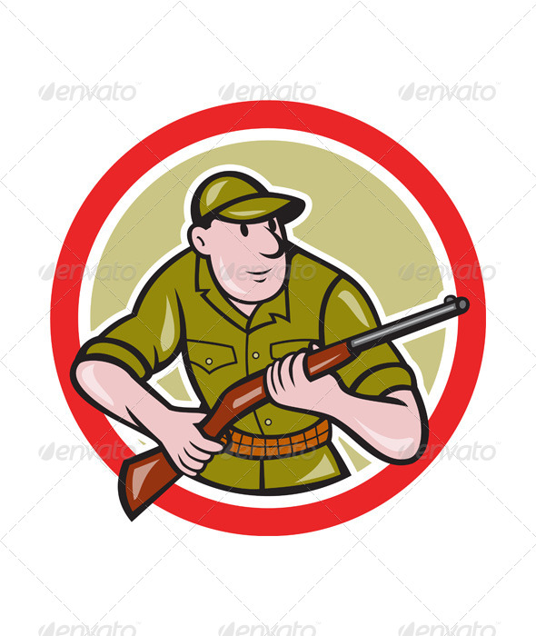 GraphicRiver Hunter Carrying Rifle Cartoon 7389562