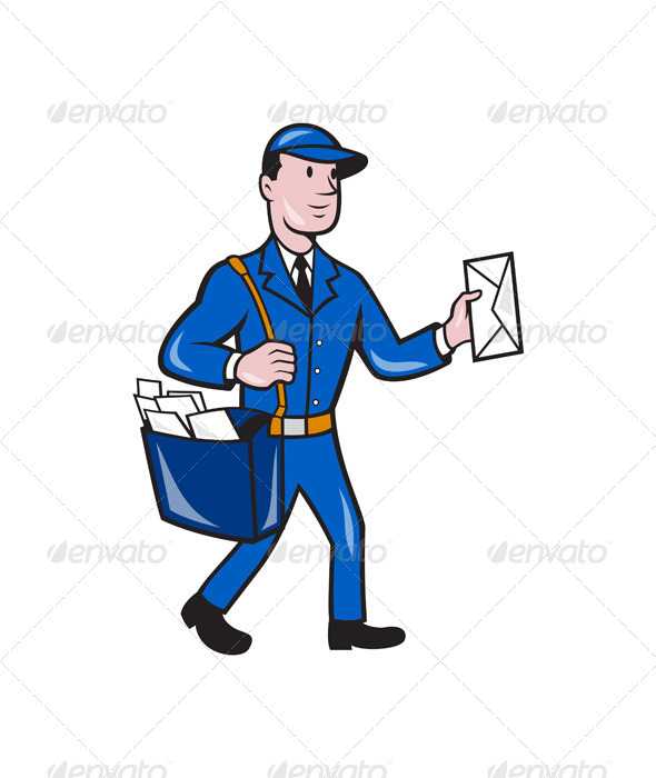 GraphicRiver Mailman Postman Delivery Worker Isolated Cartoon 7389576