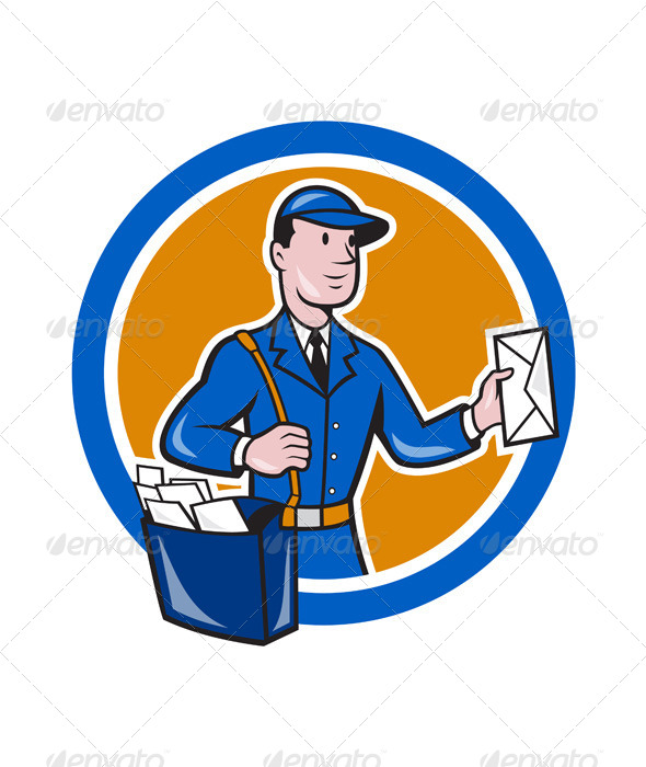 GraphicRiver Mailman Postman Delivery Worker Circle Cartoon 7389596