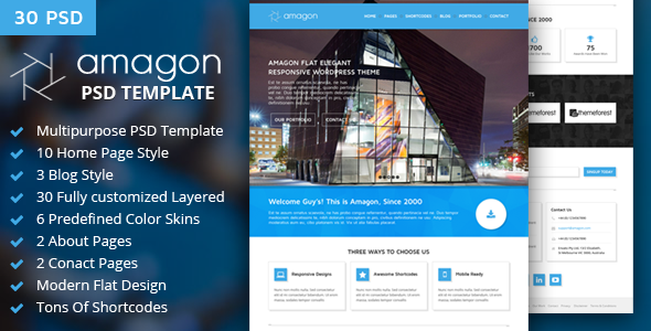 ThemeForest Amagon Flat Multipurpose PSD Template 7345382
