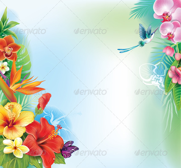 GraphicRiver Background from Tropical Flowers and Leaves 7389861