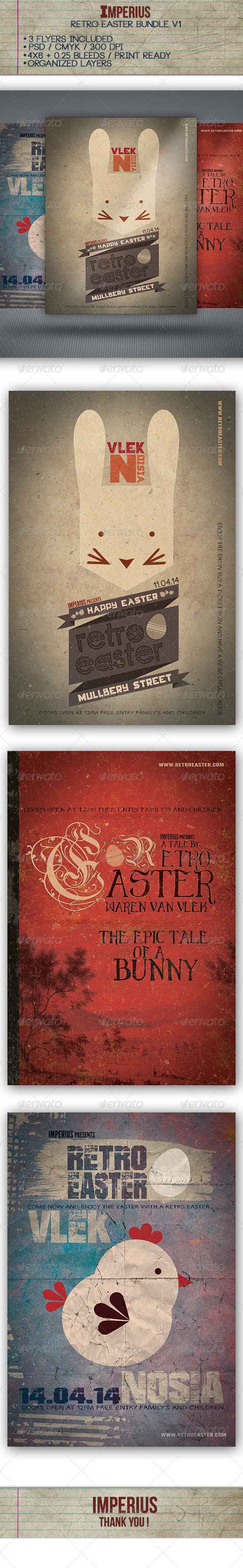 GraphicRiver Retro Easter Bundle 7389883