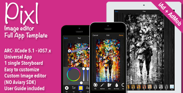 CodeCanyon Pixl Full Image Editor App template 7377055