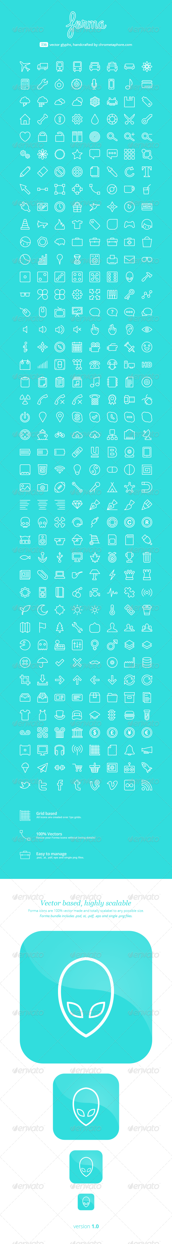 GraphicRiver Forma line 336 vector icons 7390525