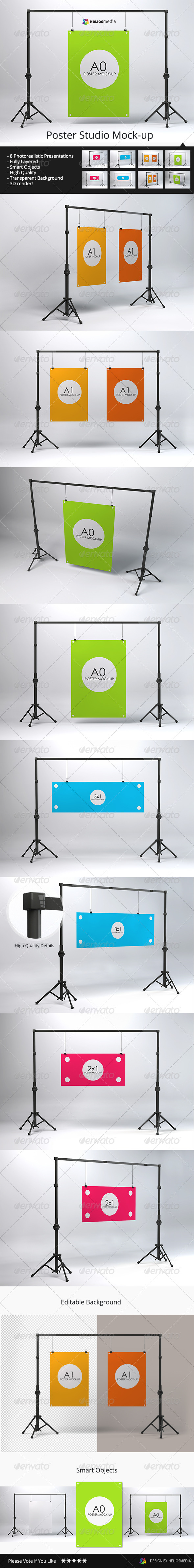 GraphicRiver Poster Studio Mock-up 7390975