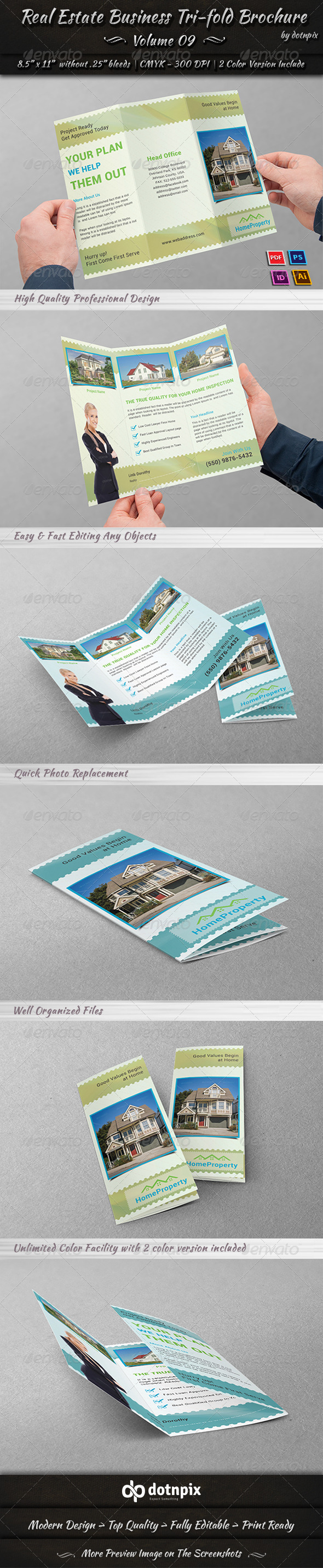 GraphicRiver Real Estate Business Tri-fold Brochure Volume 9 7391513