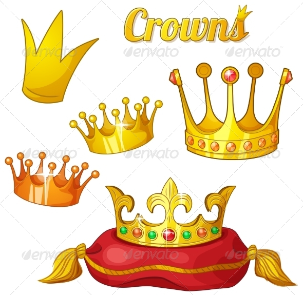 GraphicRiver Set of Royal Gold Crowns Isolated on White 7391842