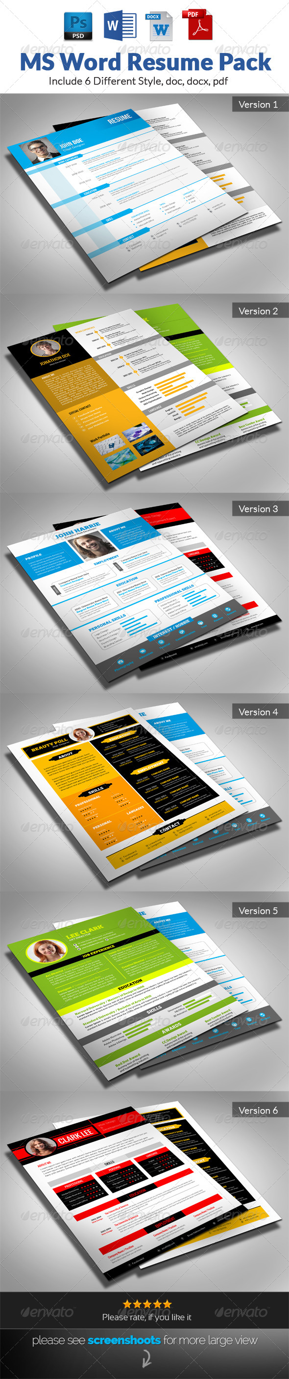GraphicRiver MS Word Resume Pack 7352592