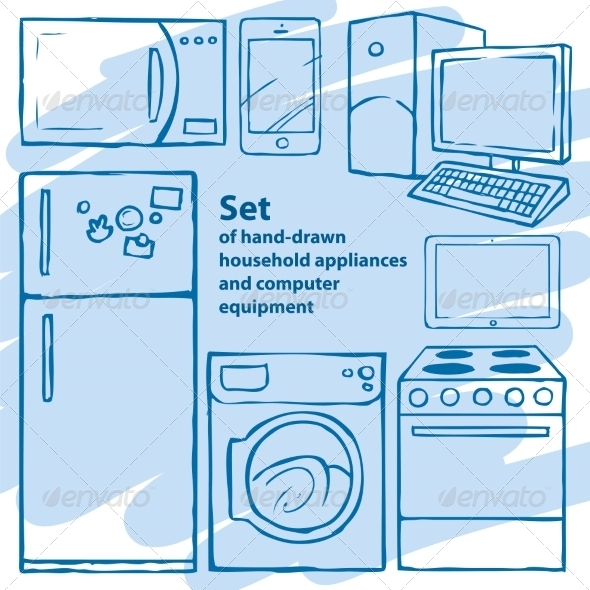 GraphicRiver Hand Drawn Appliances and Computer Equipment 7392008