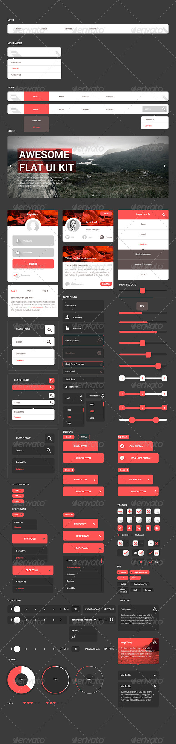 GraphicRiver Awesome Flat Ui Kit 7259329