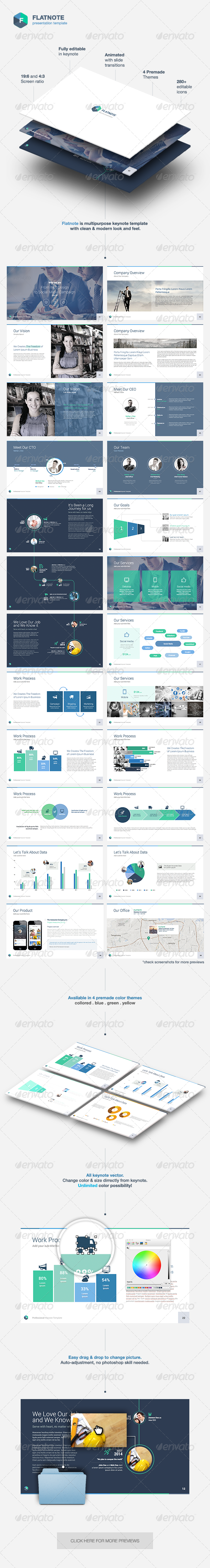 GraphicRiver Flatnote Business Keynote Template 7392538