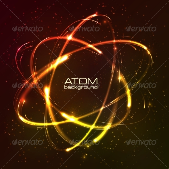 GraphicRiver Vector Shining Neon Lights Atom Model 7392769