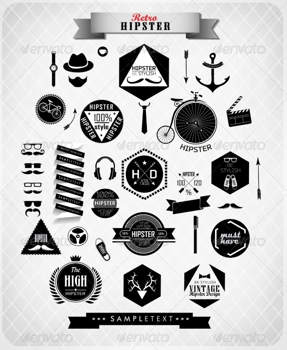 GraphicRiver Hipster Style Elements and Icons 7392991