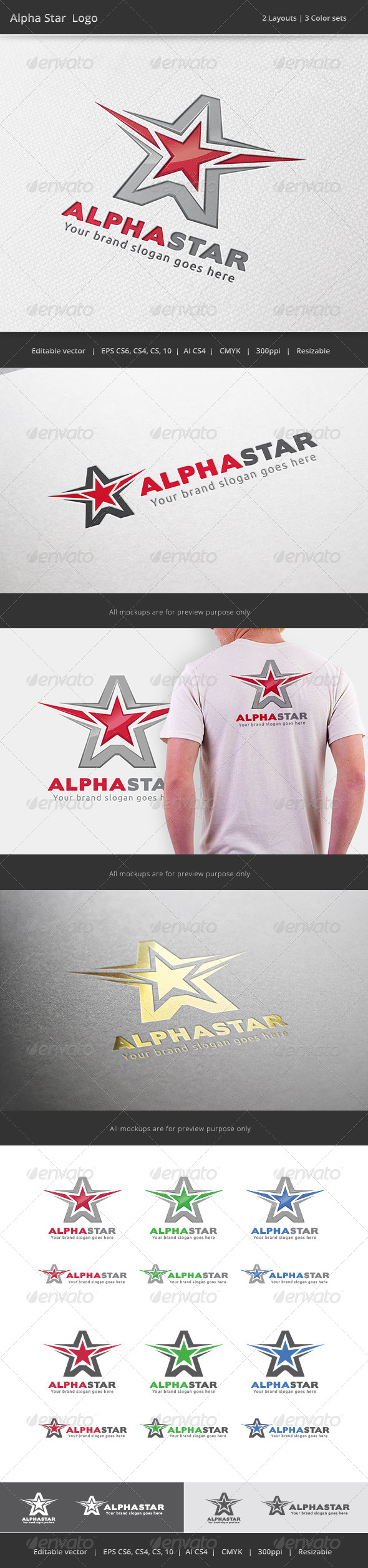 GraphicRiver Alpha Star A Letter Logo 7393186