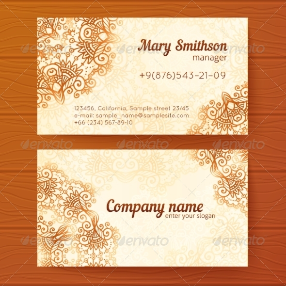 GraphicRiver Ornate Vintage Business Cards Vector Template 7393331