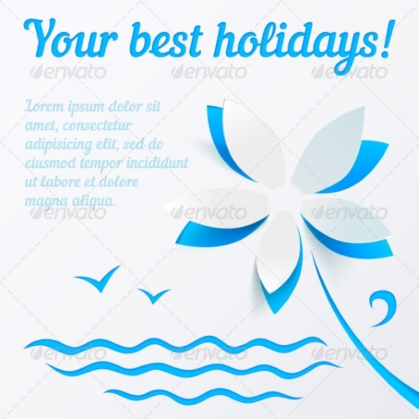 GraphicRiver Cutout Paper Flower Summer Vector Background 7393391