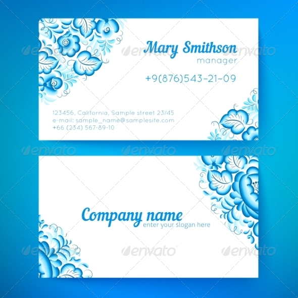 GraphicRiver Blue Floral Decoration Business Card Templates 7393512