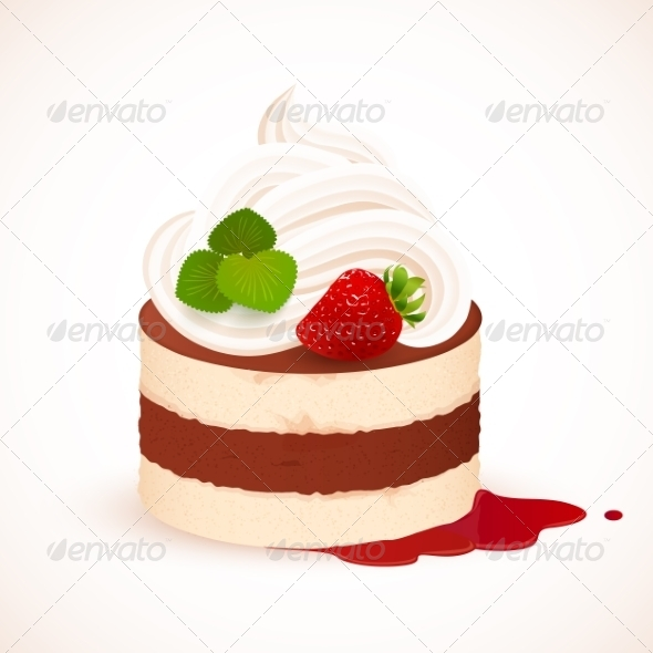 GraphicRiver Tiramisu Cake with Cream and Strawberry 7393557