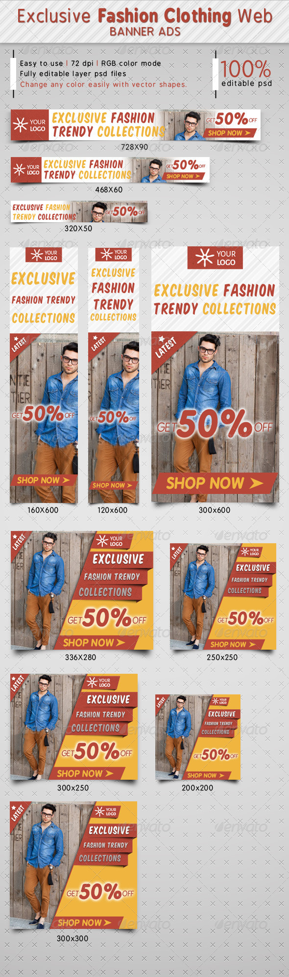 GraphicRiver Exclusive Fashion Clothing Ads 7393622
