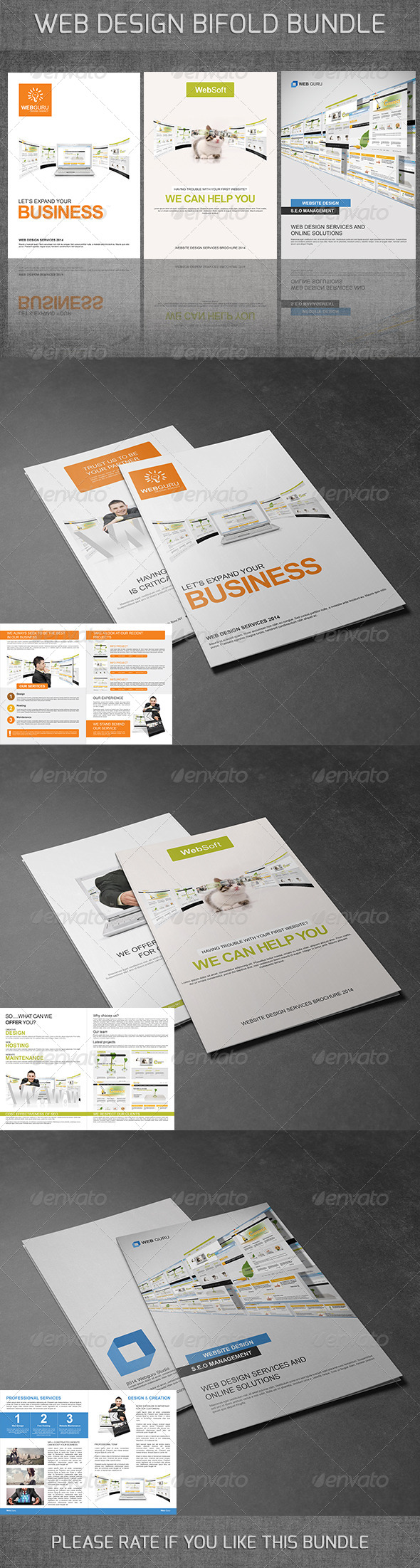 GraphicRiver Web Design Bifold Brochures Bundle 7393964