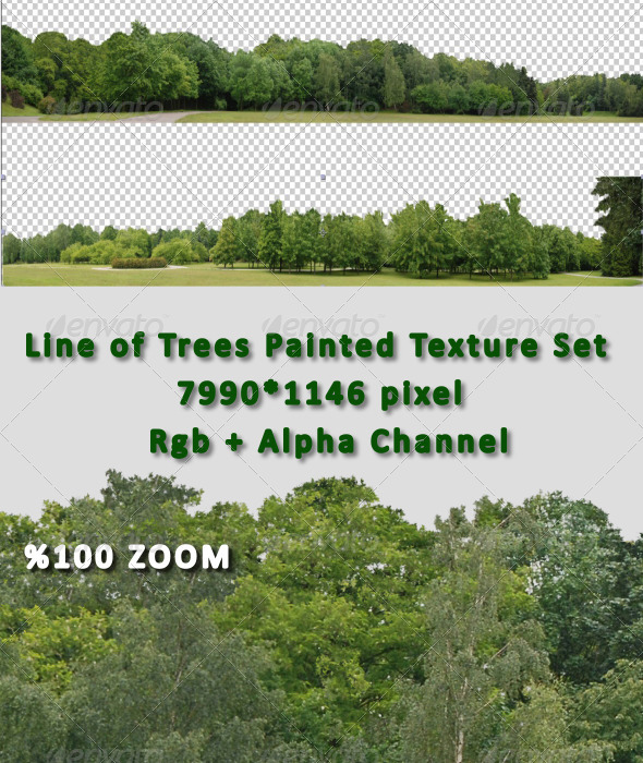 3DOcean Line of Tree Painted Hi-Res Texture Set 7394261