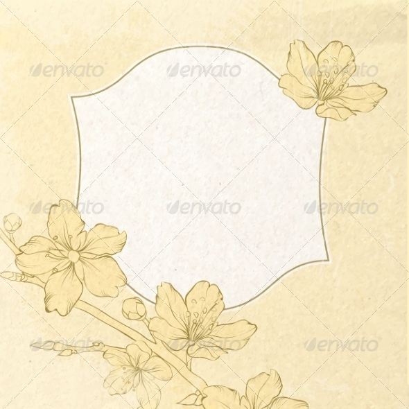 GraphicRiver Card with Spring Roses in Vintage Style 7394477